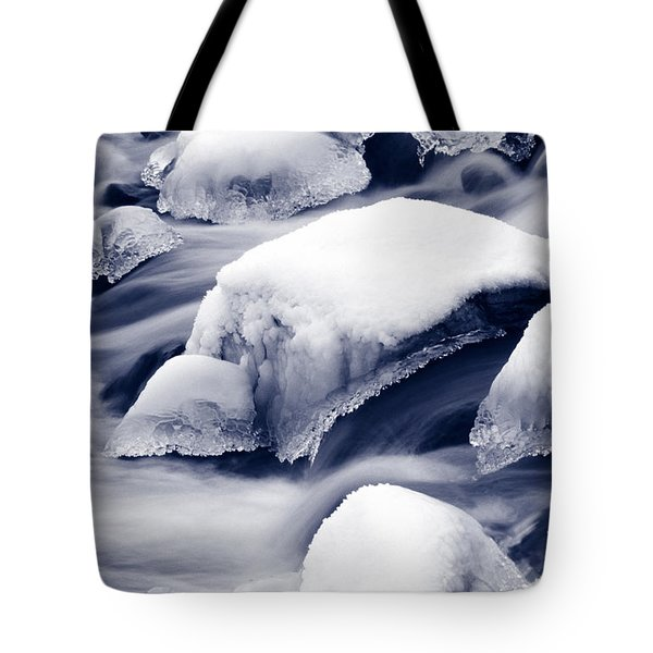 Tote Bag featuring the photograph Snowy Rocks by Liz Leyden