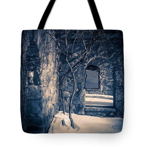 Snowy Ruins At Night Tote Bag