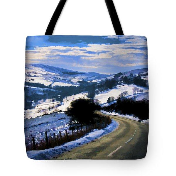 Snowy Scene And Rural Road Tote Bag