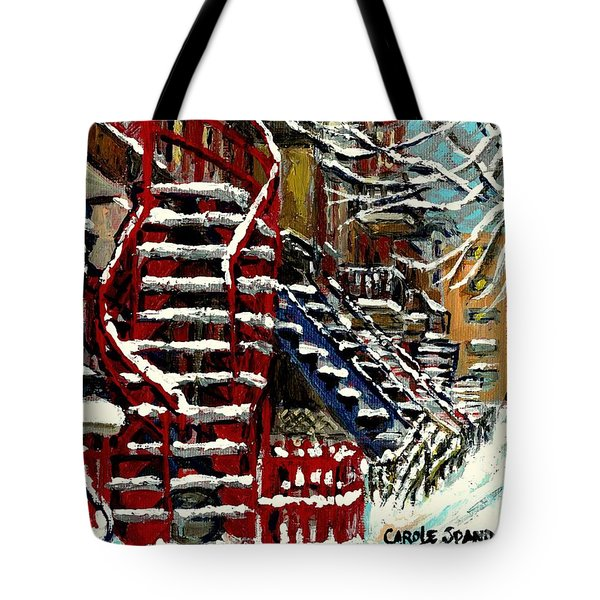 Snowy Steps The Red Staircase In Winter In Verdun Montreal Paintings City Scene Art Carole Spandau Tote Bag