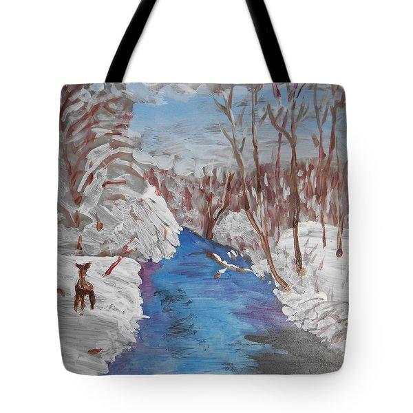Snowy Stream Tote Bag by Christine Lathrop