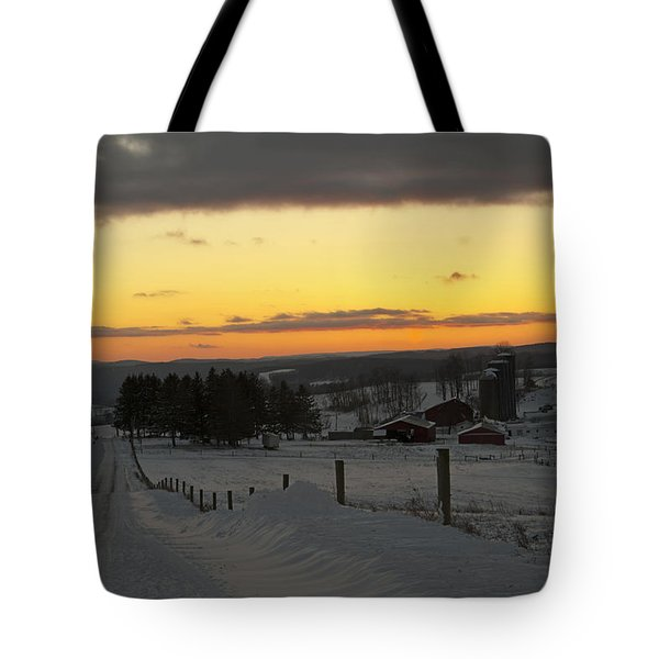 Snowy Pennsylvania Sunset Tote Bag
