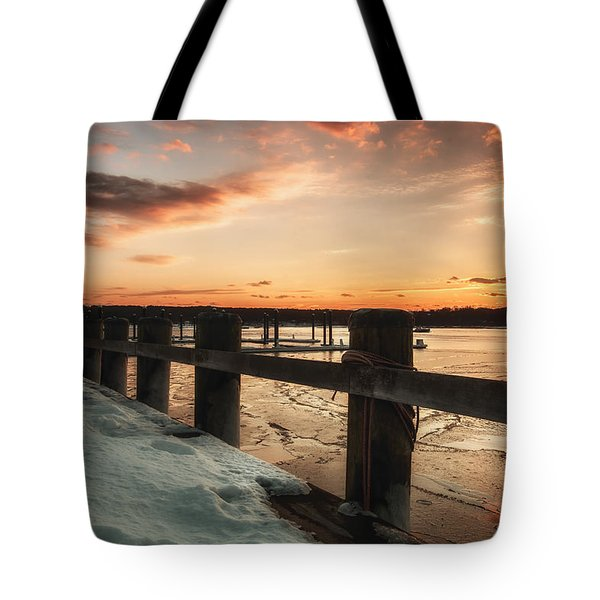 Snowy Sunset In Northport New York Tote Bag
