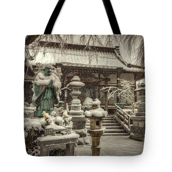 Snowy Temple Tote Bag