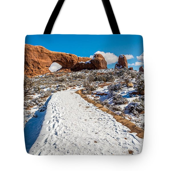 Snowy Trail To The North Window Tote Bag