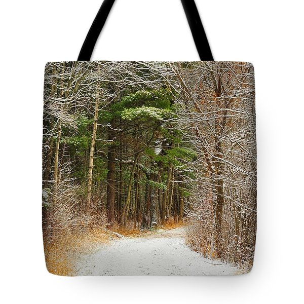 Snowy Tunnel Of Trees Tote Bag by Terri Gostola