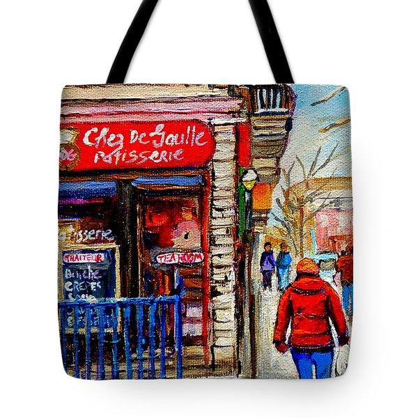 Snowy Walk By The Tea Room And Pastry Shop Winter Street Montreal Art Carole Spandau  Tote Bag by Carole Spandau
