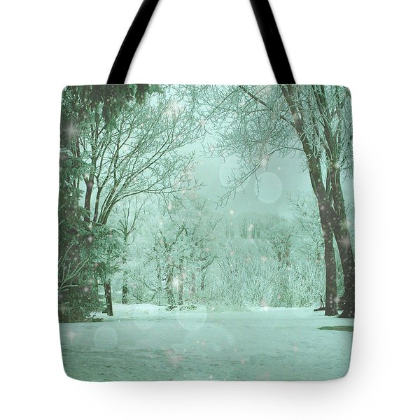 Snowy Winter Night Tote Bag by Mary Wolf