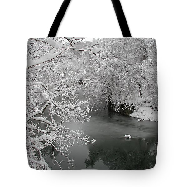 Snowy Wissahickon Creek Tote Bag by Bill Cannon