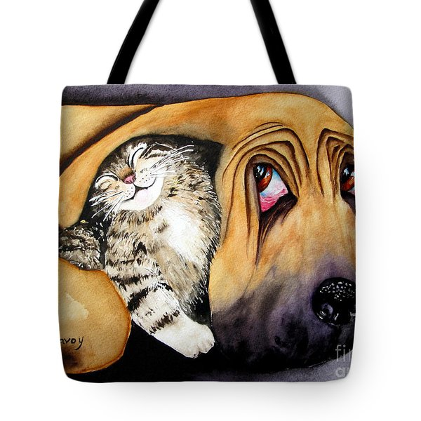 Tote Bag featuring the painting Snuggles by Diane DeSavoy