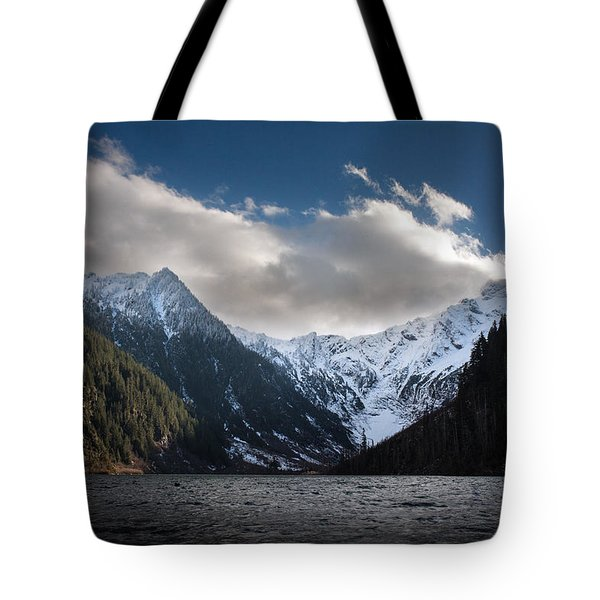Soaring Mountain Lake Tote Bag by Mike Reid