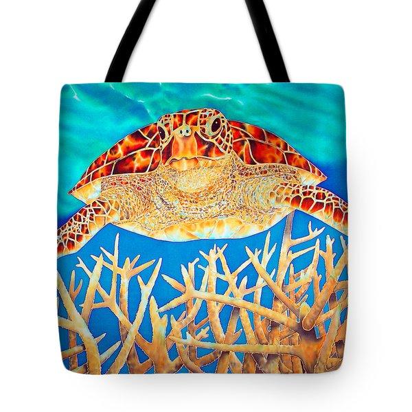 Sea  Turtle Soaring Over Staghorn Tote Bag