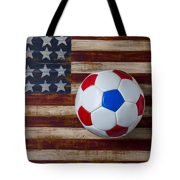 Soccer Ball On American Flag Tote Bag by Garry Gay
