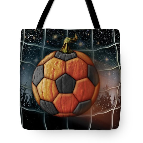 Soccer Ball Pumpkin Tote Bag by James Larkin