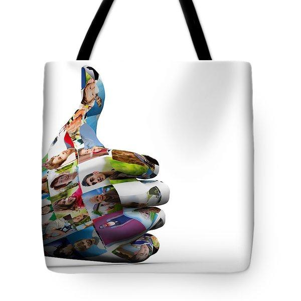 Social Media People Painted Hand In Ok Sign Tote Bag by Michal Bednarek
