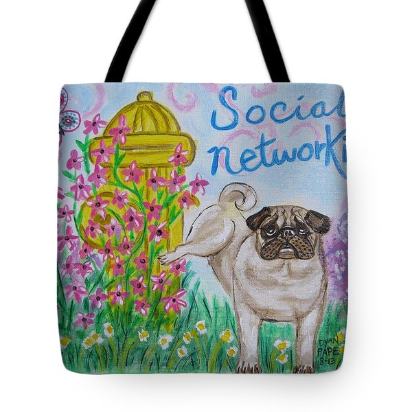 Social Networking Pug Tote Bag
