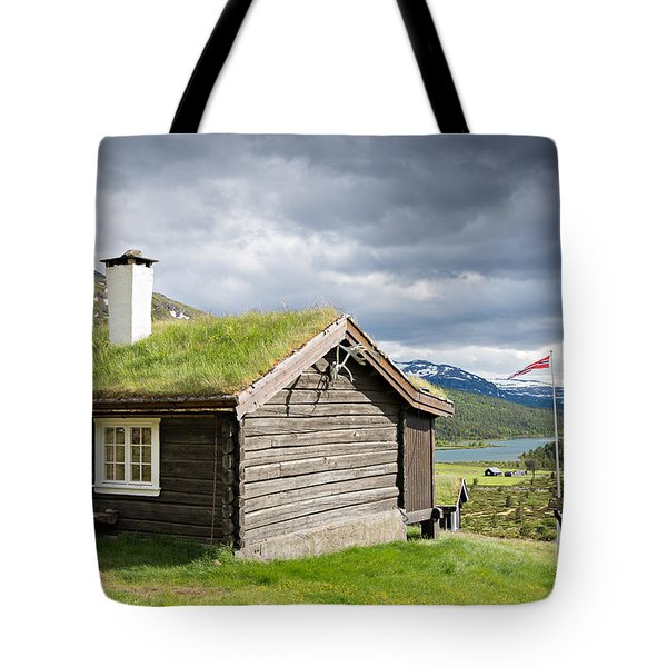 Tote Bag featuring the photograph Sod Roof Log Cabin by IPics Photography