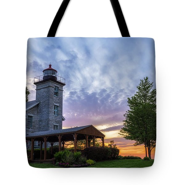 Sodus Bay Lighthouse Tote Bag by Mark Papke