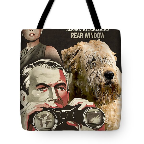 Soft-coated Wheaten Terrier  - Wheaten Terrier Art Canvas Print - Rear Window Movie Poster Tote Bag