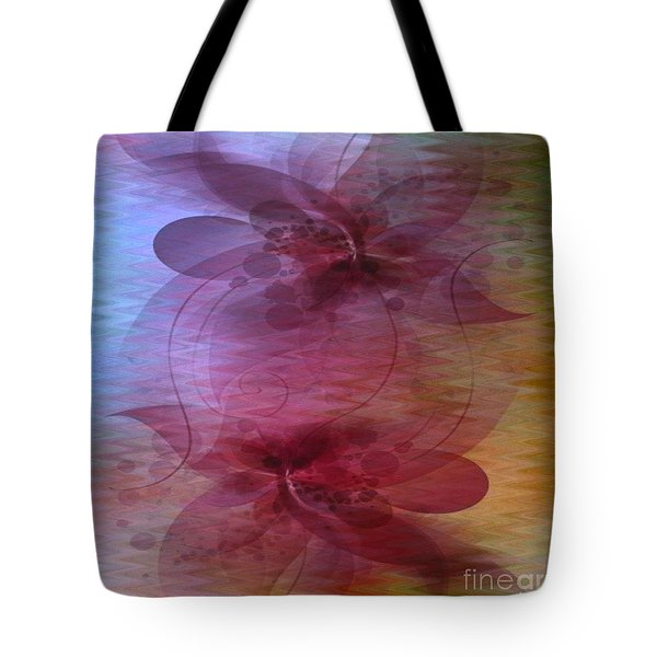 Soft Colored Ripples And Ribbons Abstract Tote Bag by Judy Palkimas