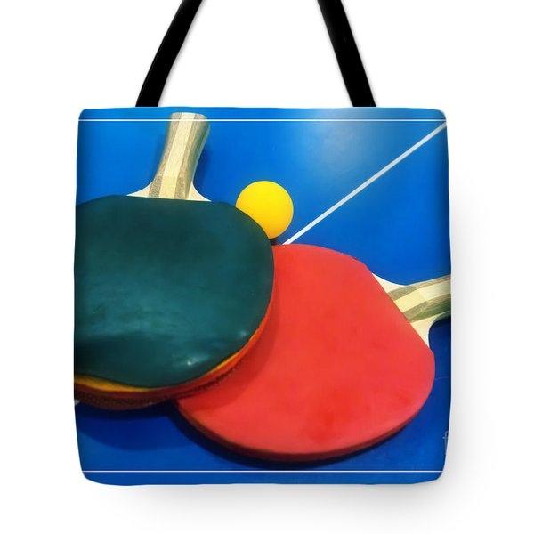 Soft Dreamy Ping-pong Bats Table Tennis Paddles Rackets On Blue Tote Bag