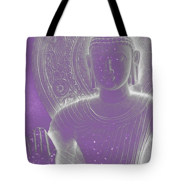 Soft Glow Purple Buddha Tote Bag by Sally Rockefeller