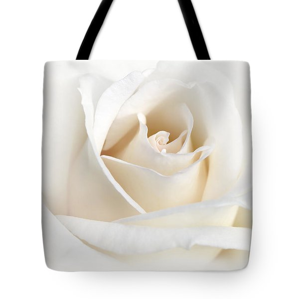 Soft Ivory Rose Flower Tote Bag by Jennie Marie Schell