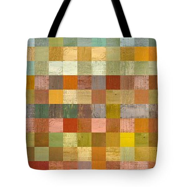 Soft Palette Rustic Wood Series Collage L Tote Bag by Michelle Calkins