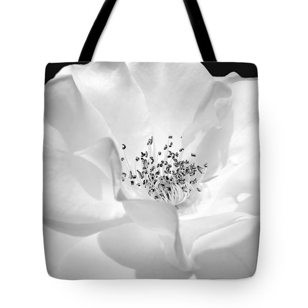 Soft Petal Rose In Black And White Tote Bag by Jennie Marie Schell