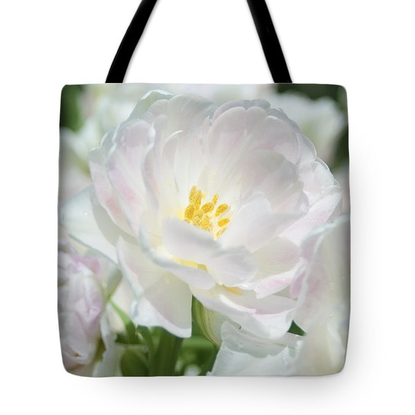 Tote Bag featuring the photograph White Flower Is Beautiful by Haleh Mahbod