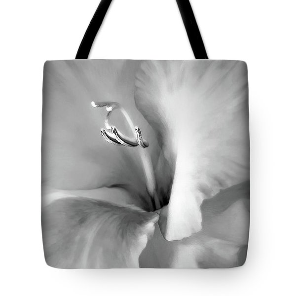 Soft Silver Gladiola Floral Tote Bag by Jennie Marie Schell