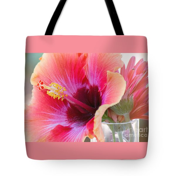 Soft Touch Hibiscus Tote Bag by Sally Simon