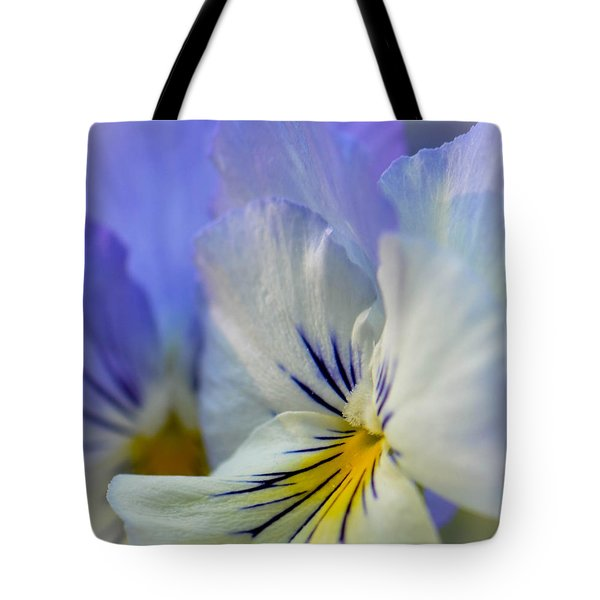 Soft White Pansy Tote Bag by Amy Porter