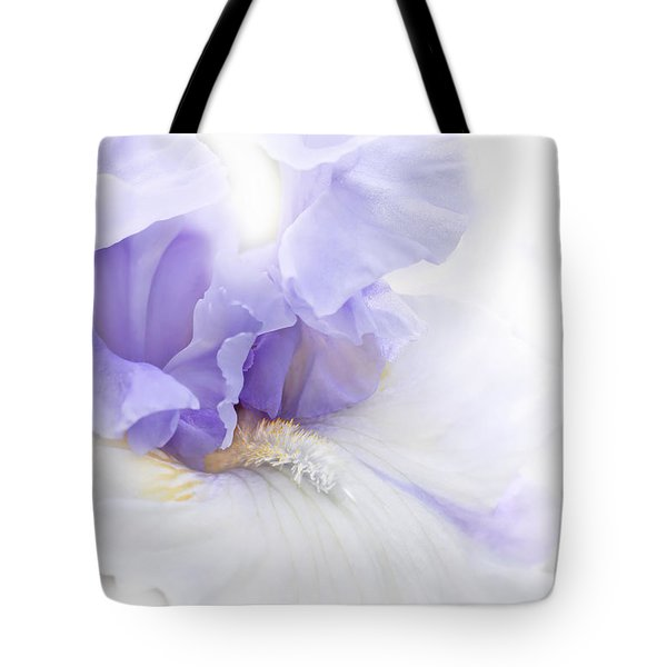 Tote Bag featuring the photograph Softness Of A Lavender Iris Flower by Jennie Marie Schell