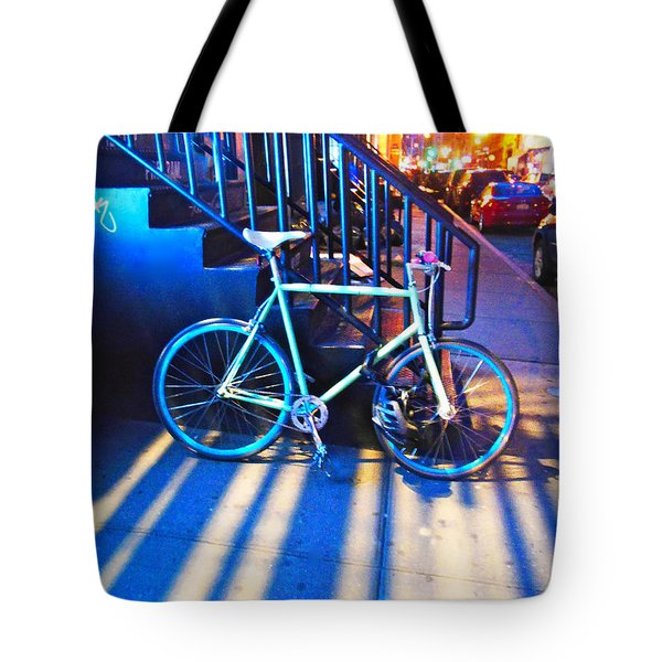 Tote Bag featuring the photograph Soho Bicycle  by Joan Reese