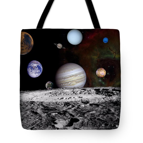 Solar System Montage Of Voyager Images Tote Bag by Movie Poster Prints