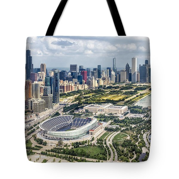 Soldier Field And Chicago Skyline Tote Bag by Adam Romanowicz