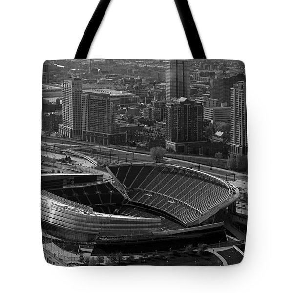 Soldier Field Chicago Sports 05 Black And White Tote Bag