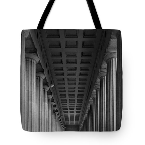 Soldier Field Colonnade Chicago B W B W Tote Bag by Steve Gadomski