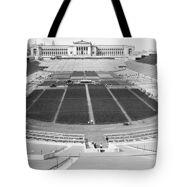 Soldier's Field Boxing Match Tote Bag by Underwood Archives