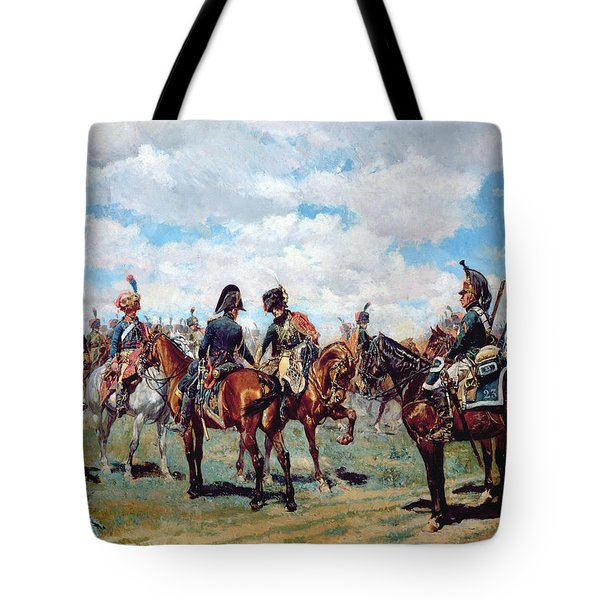 Soldiers On Horseback Tote Bag by Jean-Louis Ernest Meissonier