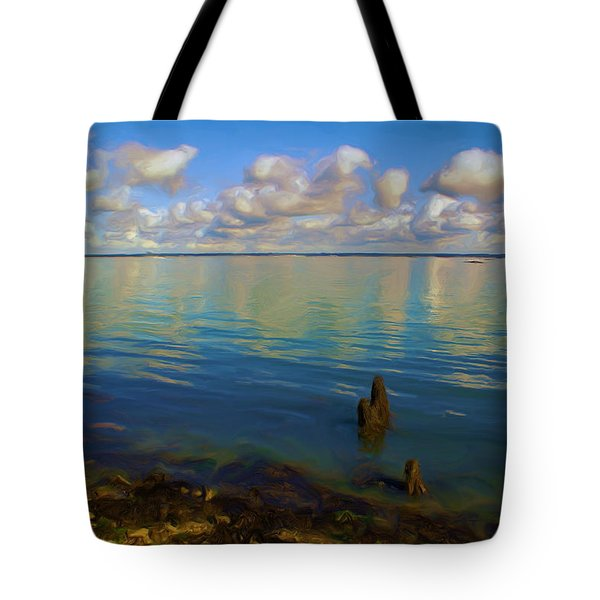 Tote Bag featuring the digital art Solent by Ron Harpham