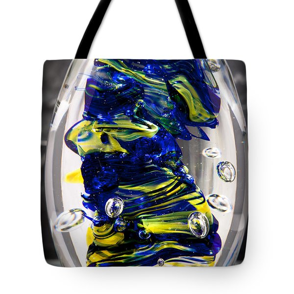 Solid Glass Sculpture -13e4- Cobalt And Yellow  Tote Bag by David Patterson