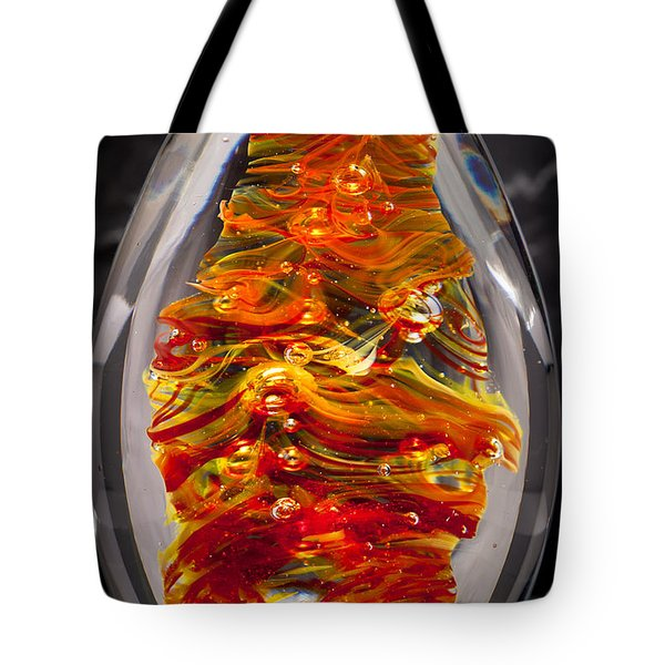 Flames -  Solid Glass Sculpture 13e5 Tote Bag by David Patterson
