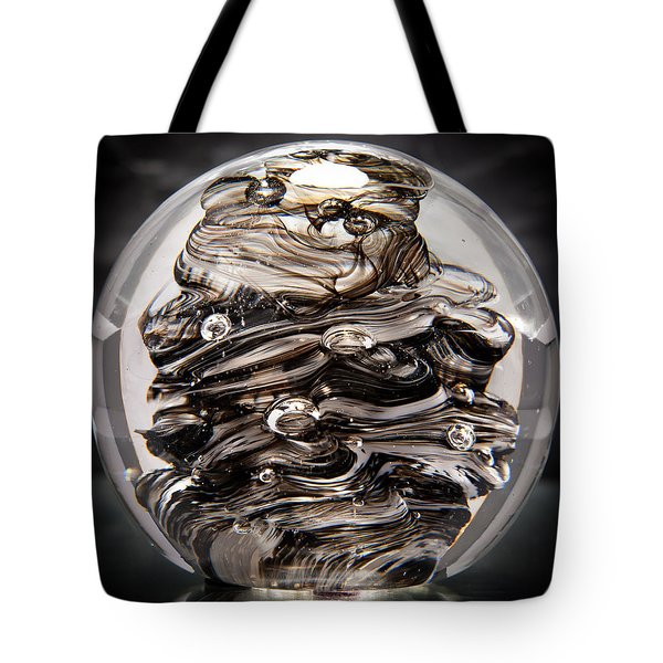 Solid Glass Sculpture 13r9 Black And White Tote Bag by David Patterson