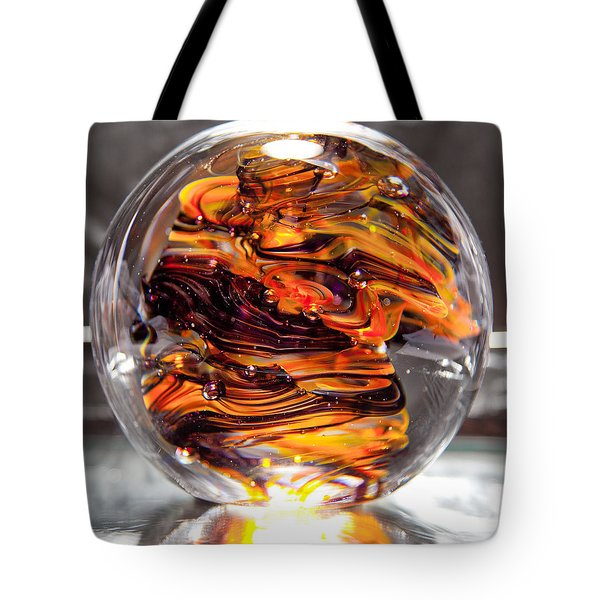Solid Glass Sculpture - Rpo - Orange And Purple Tote Bag by David Patterson