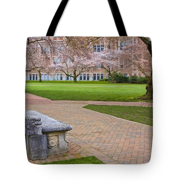 Tote Bag featuring the photograph Solitary Bench by Sonya Lang