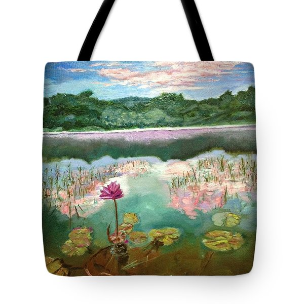 Tote Bag featuring the painting Solitary Bloom by Belinda Low