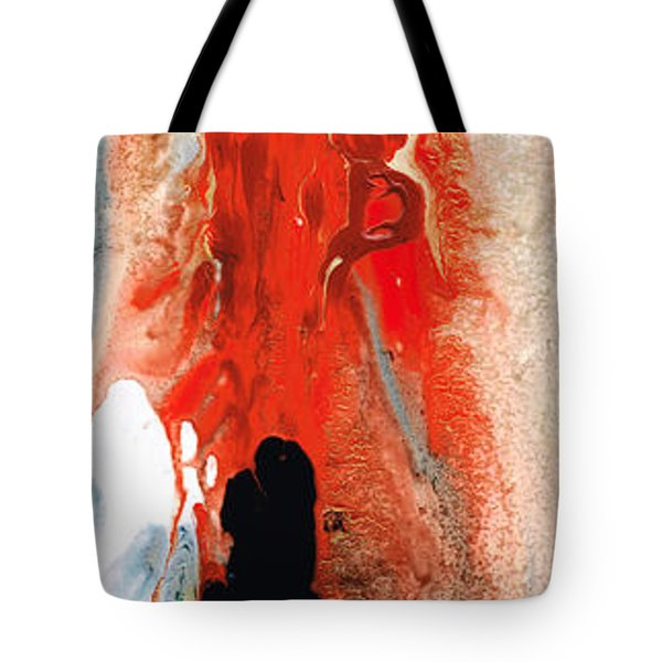 Solitary Man - Red And Black Abstract Art Tote Bag by Sharon Cummings
