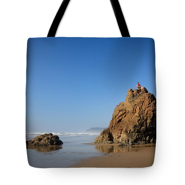 Solitary Ocean View Tote Bag by Karen Lee Ensley